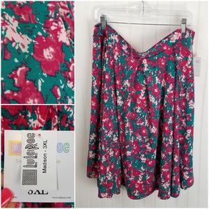 LuLaRoe Madison Pink & Teal Abstract Floral Skirt
